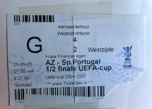 Mijn entreekaartje voor AZ - Sporting Lissabon in De Hout
